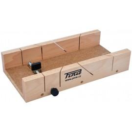 Cutie sablon din lemn cu 1 surub reglaj pentru taiere la 45°/90°, Pinie