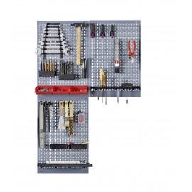 Kit 3 panouri perforate vertical/orizontal 1200x600 pentru scule profesionale cu set de 52 carlige