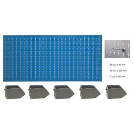 B1-3 Panou perforat orizontal albastru, 1000x500 mm cu set accesorii