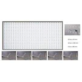 B3-1 Panou perforat orizontal alb, 1000x500 mm cu set accesorii