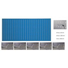 B3-3 Panou perforat orizontal albastru, 1000x500 mm cu set accesorii