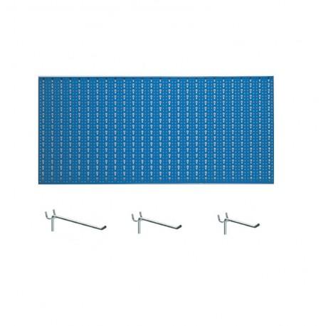 Panou perforat orizontal de 1000x500mm albastru  cu set de 25 carlige metalice