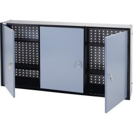 Dulap suspendat 1200x600x190 mm, cu 3 uși, 4 polițe și panou perforat