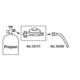 "Regulator presiune butelie gaz  50mbar filet 1/4"", pentru propan & butan"