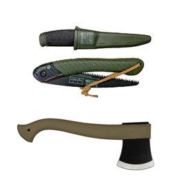 Set topor,cutit si fierastrau bushcraft Morakniv /Fiskars