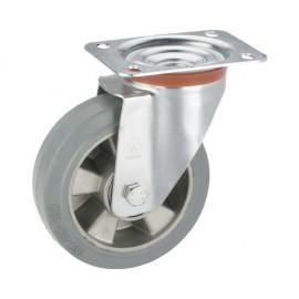 Roata pivotanta metalica & cauciuc plin Tarrox Ø160mm, placa fixare 140x110 mm, pentru sarcini grelee